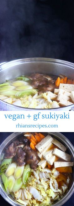 This Vegan Sukiyaki is full of healthy plant-based goodness and so easy to make – just dump all the ingredients either into a slow cooker or a pot on the stove. Also gluten-free.
