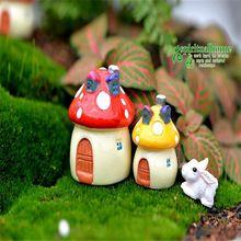 Estatuetas de resina Casa Cogumelo De Fadas Jardim Cogumelo Miniaturas Terrário Decoração de Jardim Em Miniatura Miniatura Figuras De Fadas(China (Mainland))