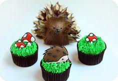 Chocolate hazelnut cupcakes with hedgehog and mushroom topper