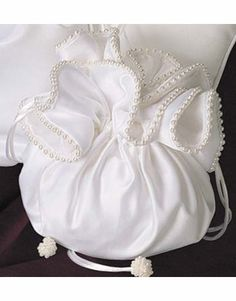Pearled Edge Satin Bridal Purse with Drawstring Closure