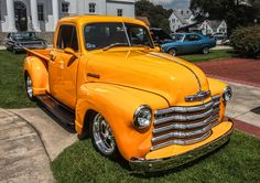Yellow 1951 Chevrolet Pickup.  ...Like going fast? Call or click: 1-877-INFRACTION.com (877-463-7228) for local lawyers aggressively defending Traffic Tickets, DUIs and Suspended Licenses throughout Florida