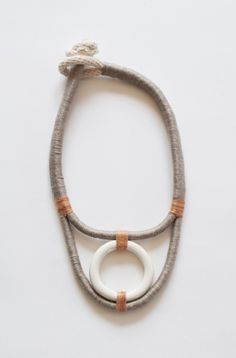 gray + tan boho necklace