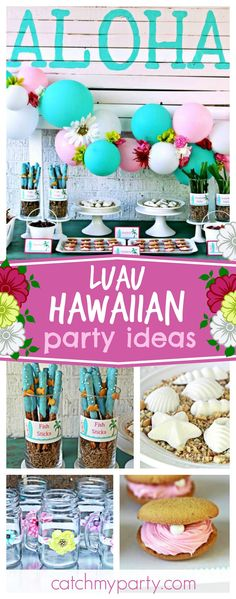 Loving this pretty Luau Hawaiian birthday party. The dessert table and backdrop are awesome!! See more party ideas and share yours at CatchMyParty.com