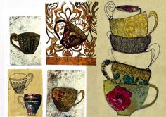 Teacups textile collage - Charlotte Duffy