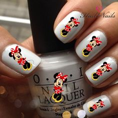Nail WRAPS Nail Art Water Transfers Decals - Minnie Mouse Bow Y089