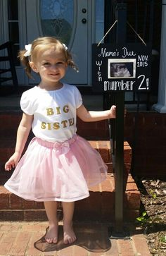 Pregnancy Announcement Big Sister Mama's Due with Number 2