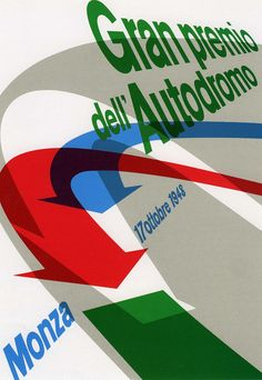 Max Huber: poster for automobile races, 1948. Speed and movement are expressed by typography racing back in perspective and arrows arching forward, bringing depth to the printed page. (ITS)