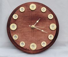 Gold Shotgun Shell Clock with a Beautiful Satin by HotGlassandMore, $20.00