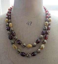 1940s german plastic double strand necklace