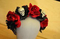 Skull and Rose Day of the Dead Crown Skeleton por HikariDesign