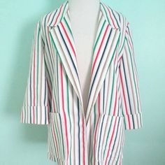 Vintage Striped 80's Blazer 1980's Cotton by ChinaCatVintage