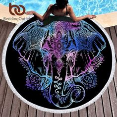 Beddingoutlet Bohemian Elephant Round Beach Towel Boho Indian Tassel T – FuzWeb Tapestry Beach, Mandala Tapestry, Hanging Tapestry, Tapestry Floral, Tapestry Fabric, Wall Tapestry, Mandala Elephant, Elephant Tapestry, Elephant Towel