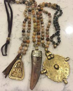 Tibetan Horn Necklace - Genuine Sunstone Gemstones