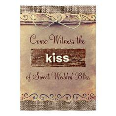 Rustic Country Vintage Burlap Wedding Invitations Custom Announcement  | Visit the Zazzle Site for More: http://www.zazzle.com/?rf=238228028496470081