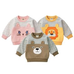 MOF Kids sweatshirts infant baby boy sweatsuit cartoon animal print featuring a crew neck, long sleeves, a printed cartoon animal print logo to the front, side slits and a straight hem. Teddy Bear Clothes, Cute Baby Clothes, Baby Boy Outfits, Kids Outfits, Baby Suit, Baby Sewing Projects, Girls Pajamas, Beautiful Babies, Kids Fashion