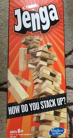 Hasbro Classic Jenga Wooden Block Tower Game Used #Hasbro