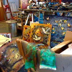 Atelieret lørdag morgen .. #maleri #painting #art #kunst #atelier #kaos !! hold fast der er rodet ...