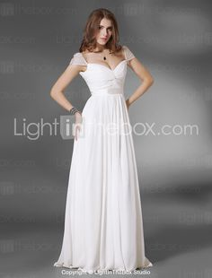 Chiffon A-line Floor-length Evening Dress - USD $ 136.49  I thought the capped sleeves on this made it feel a bit more ethereal.