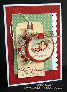like the layout Pursuit of Craftyness: December 2009 Warm and cozy kind of card Homemade Christmas Cards, Christmas Cards To Make, Noel Christmas, Christmas Paper, Xmas Cards, Homemade Cards, Handmade Christmas, Holiday Cards, Christmas Crafts