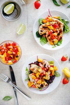 Grilled Mango Chicken with Strawberry Mango Salsa - Lexi's Clean Kitchen