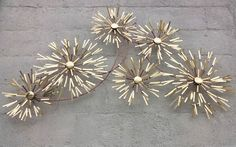 "FIREWORKS STARBURST Mid Century Modern 1983 C JERE Wall Sculpture HUGE 60"" x 32"" #CurtisJere"