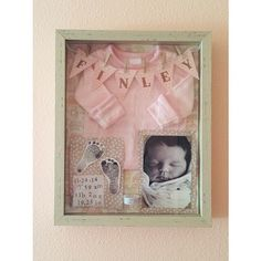 Babygirl shadow box  newborn photo, anklet, stats and outfit she wore in the hospital. Shadow box from Tj Maxx