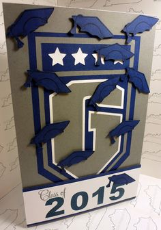 A handmade graduation card using the school's crest and Silhouette. Kitchen Sink Stamps Playful Numbers, Kitchen Sink Stamps 3 Step Graduation; High Hopes Stamps Grad Cap