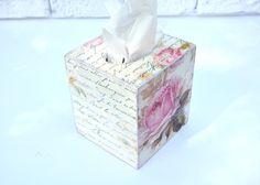 Shabby Chic Tissue Box Cover Antique White Tissue Klennex by YWart