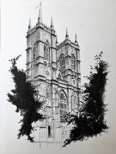 Excited to share the latest addition to my #etsy shop: Original pen and ink illustration Westminster Abbey London Sketch Ink, Line Sketch, Drawing Sketches, Architecture Sketches, London Architecture, Fantasy Art Landscapes, Landscape Art, Westminster Abbey London, London Drawing