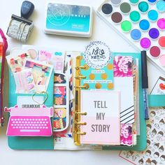 Desk top color crushin inside my planner. Ms. Light teal is stuffed!! Tap for sources :)