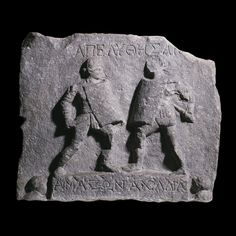 """Amazon and Achilia, gladiators granted freedom for their outstanding performances. The absence of helmets may be due to the desire to see their faces given their rarity.  Juvenal criticized women from distinguished and illustrious families disgracing themselves in the arena:   """"What sense of shame can be found in a woman wearing a helmet, who shuns femininity and loves brute force....If an auction is held of your wife's effects, how proud you will be of her arm-pads and shin-guard!"""""""