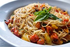 Easy tomato basil pasta.  I halve the recipe if cooking just for me. Use whole wheat or brown rice pasta to make anti inflammatory.