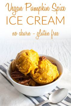 Vegan Pumpkin Spice Ice Cream (gluten free) - This no-churn ice cream is sweet and rich. It is a great alternative to pie for the holidays! #pumpkinicecream #veganicecream #pumpkin #pumpkinpiespice