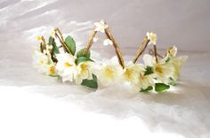 Floral crown flower tiara bridal head piece by gardensofwhimsy, $90.00