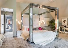Super Model Kate Moss and her new mirrored bed! We love our mirrored cube beds they are SO glamorous. Orders yours now xxx