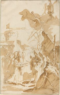 Capitulation of a Town, by Giovanni Battista Tiepolo Drawing Sketches, Art Drawings, Baroque Art, John James Audubon, National Gallery Of Art, Italian Artist, Old Master, Old Art, Vintage Wall Art