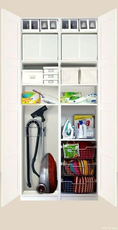IKEA Pax system - this is what I was planning for landing with mirror doors hallway closet organization Utility Closet, Laundry Closet, Cleaning Closet, Laundry Room Storage, Laundry Room Design, Cupboard Storage, Closet Storage, Kitchen Storage, Closet Organization