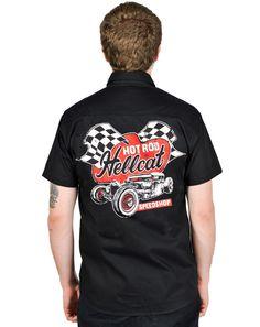 Hotrod Hellcat WorkShirt Speedshop.Tattoo,Biker,Oldschool,Rockabily,Custom Style