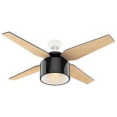 "Hunter 59257 Contemporary Cranbrook Gloss Black Ceiling Fan With Light & Remote, 52"" - - Amazon.com $229"