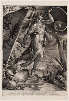 'Bellona Leading the Imperial Armies against the Turks', 1600 by Jan Harmensz Muller (Dutch, 1571–1628), after Bartholomaus Spranger (Netherlandish, 1546–1611)