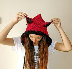 Animal hats for adults Knit women accessories. by boutiqueseragun
