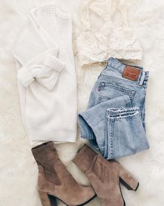 Cute and casual date outfit Trendy Outfits, Cute Outfits, Fashion Outfits, Sweater Weather, Fall Winter Outfits, Autumn Winter Fashion, Winter Clothes, Winter Style, Looks Style