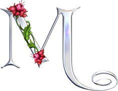 Alfabeto plateado con diversos tipos de flores.