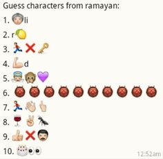 Whatsapp Guess Puzzle - Ramayan Character Names Emoji Quiz Games, Guess The Emoji Answers, Puzzles And Answers, Emoji Puzzle, Guess The Movie, Name Puzzle, Country Names, Paper Flowers Craft, Kitty Games