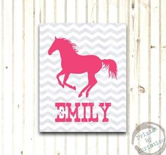 Horse Art Print Personalized Girls Bedroom Decor Custom Colors Rustic Modern Chevron Pink Gray