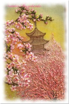 """""""Japanese garden"""" - silk ribbon embroidery on canvas                                                                                                                                                      More"""