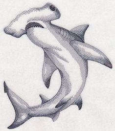 Machine Embroidery Designs at Embroidery Library! Hammerhead Shark Tattoo, Shark Tattoos, Animal Sketches, Animal Drawings, Art Drawings, Shark Drawing, Shark Art, Wale, Desenho Tattoo