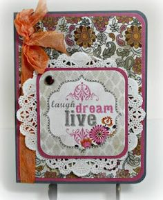 """""""laugh, dream, live"""" My Mind's Eye """"Indie Chic"""" papers and die cut and MME gem brad"""