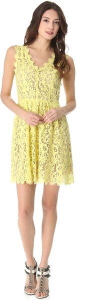 Madison Marcus Double V Lace Dress - Lyst