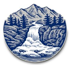 Coors Banquet Logo Illustrated by Steven Noble on Packaging Design Served Lino Art, Woodcut Art, Linocut Prints, Art Prints, Engraving Illustration, Illustration Art, Waterfall Tattoo, Scratchboard Art, Mountain Illustration